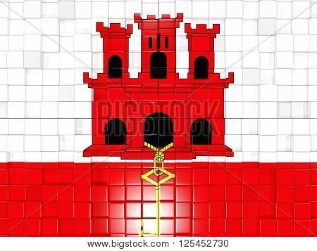 Background With Square Parts. Flag Of Gibraltar. 3D Illustration