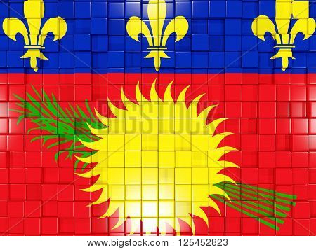 Background With Square Parts. Flag Of Guadeloupe. 3D Illustration