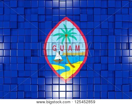 Background With Square Parts. Flag Of Guam. 3D Illustration