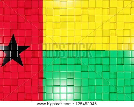 Background With Square Parts. Flag Of Guinea Bissau. 3D Illustration