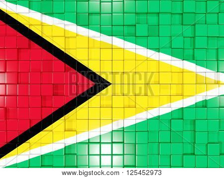 Background With Square Parts. Flag Of Guyana. 3D Illustration