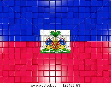 Background With Square Parts. Flag Of Haiti. 3D Illustration