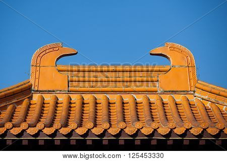 COTIA SP/BRAZIL: JUNE 4TH 2015 - Buddhist temple entrance roof