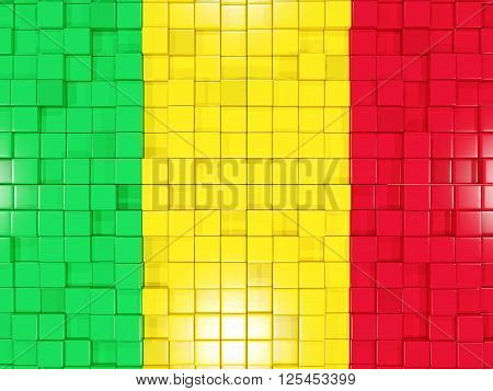 Background With Square Parts. Flag Of Mali. 3D Illustration