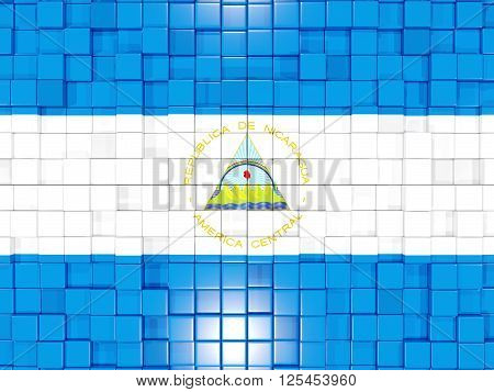 Background With Square Parts. Flag Of Nicaragua. 3D Illustration