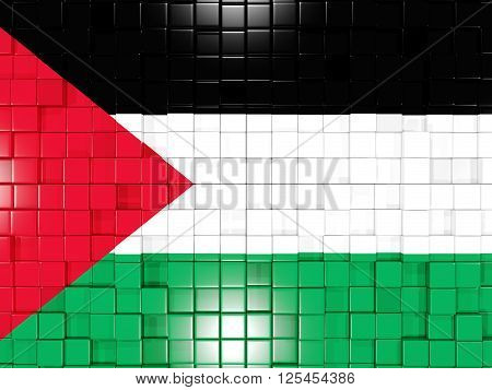 Background With Square Parts. Flag Of Palestinian Territory. 3D Illustration