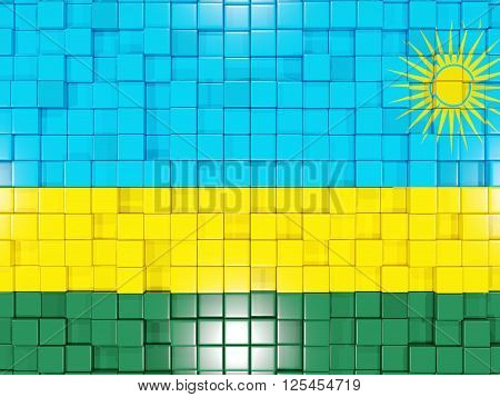 Background With Square Parts. Flag Of Rwanda. 3D Illustration