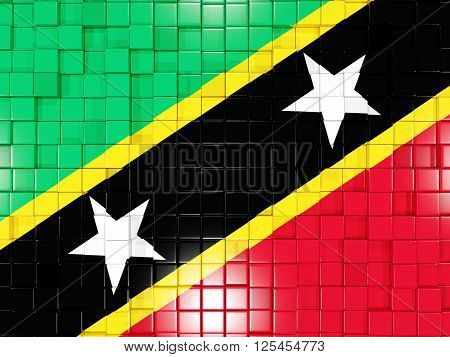 Background With Square Parts. Flag Of Saint Kitts And Nevis. 3D Illustration
