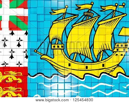 Background With Square Parts. Flag Of Saint Pierre And Miquelon. 3D Illustration