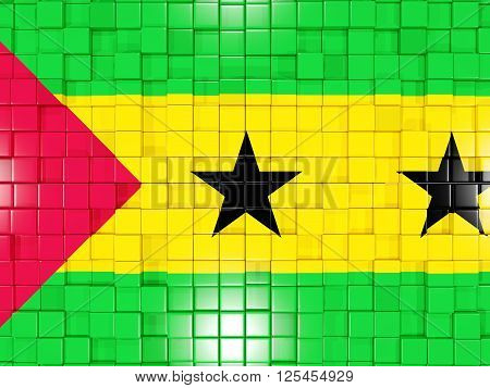 Background With Square Parts. Flag Of Sao Tome And Principe. 3D Illustration