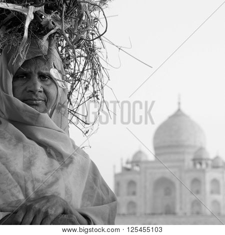 Indigenous Indian Woman Taj Mahal Tomb Concept