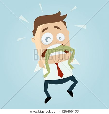 funny businessman with frog in his throat