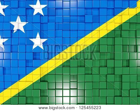 Background With Square Parts. Flag Of Solomon Islands. 3D Illustration