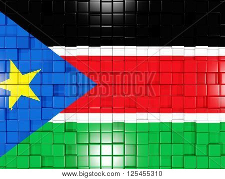 Background With Square Parts. Flag Of South Sudan. 3D Illustration