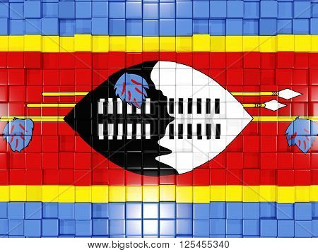 Background With Square Parts. Flag Of Swaziland. 3D Illustration