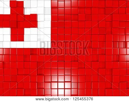 Background With Square Parts. Flag Of Tonga. 3D Illustration