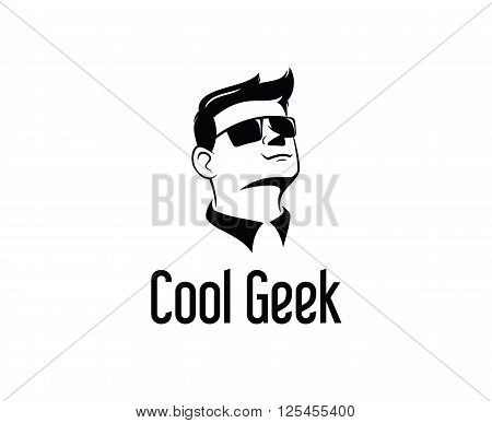 Geek Logo Design Vector, Hipster Logo Template.man With Glasses Vector.