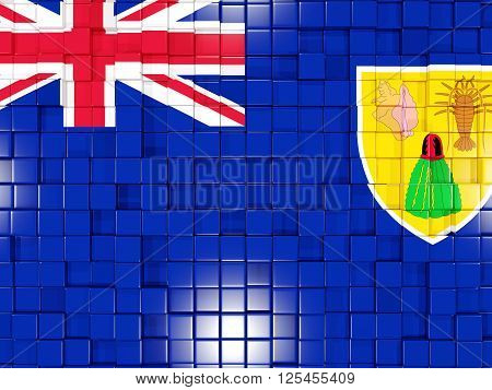 Background With Square Parts. Flag Of Turks And Caicos Islands. 3D Illustration