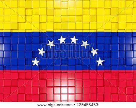 Background With Square Parts. Flag Of Venezuela. 3D Illustration