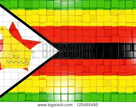 Background With Square Parts. Flag Of Zimbabwe. 3D Illustration