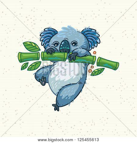 Australian Koala Bear hung on the tree. Vector kid illustration. Art print