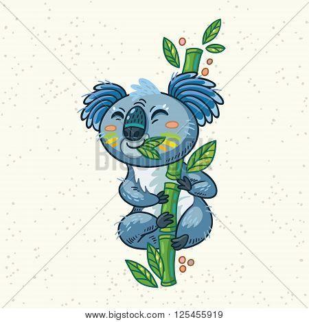 Australian Koala Bear eats eucalyptus. Vector kid illustration. Art print