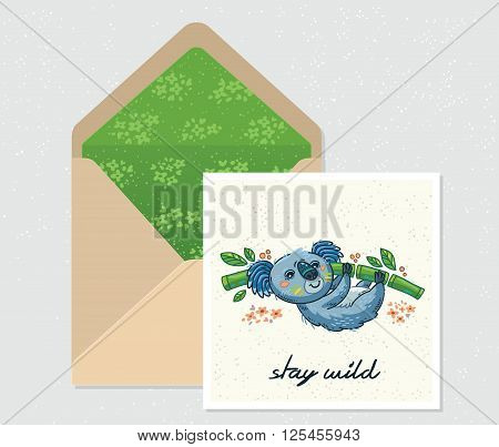 Stay wild. Open envelope and card with cute Australian Koala Bear. Printable Vector Template. Card and envelope design.