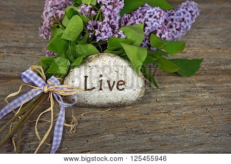Lilac bouquet with gingham bow and inspirational message on  a rock.