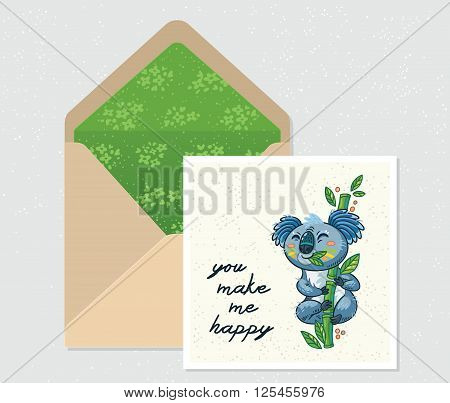 You make me happy. Open envelope and card with cute Australian Koala Bear. Printable Vector Template. Card and envelope design.