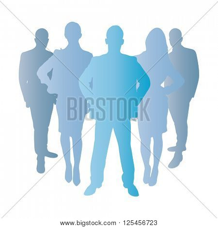 Business team as a silhouette in blue as a group