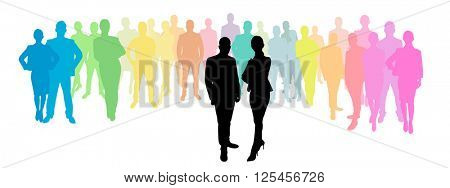 Business group behind a business woman and business man as a silhouette