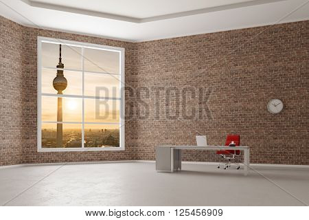 Office with desk and outlook to Berlin TV tower (3D Rendering)