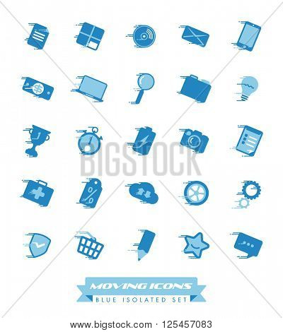 Fast Moving Icons Collection. Set of blue web and business icons with speed streaks