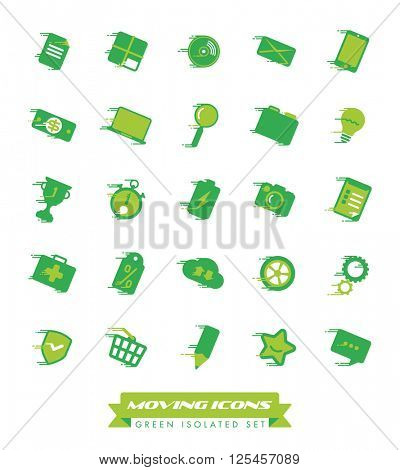 Fast Moving Icons Collection. Set of green web and business icons with speed streaks