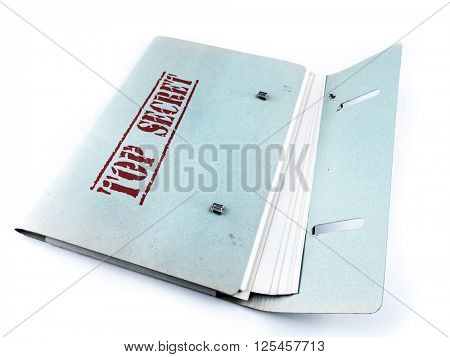 Open folder with top secret files on white background