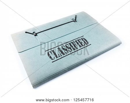 Folder with classified files on white background