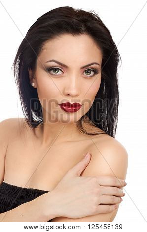 Pretty model. Beautiful Professional Makeup. Red Lips. white background