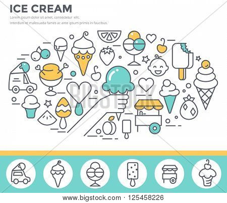 Ice cream dessert illustration thin line flat design