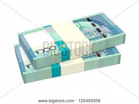Kazakhstan tenge bills isolated on white background. 3D illustration.