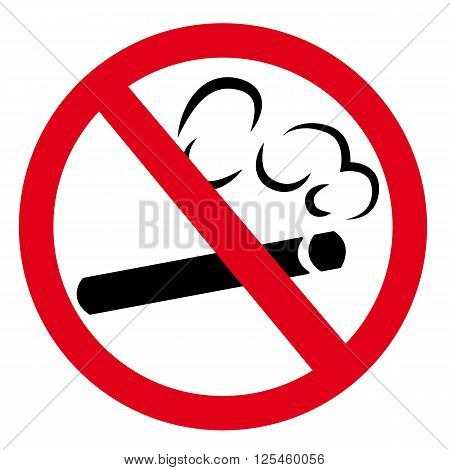 no smoking illustrated sign. Forbidden Red color