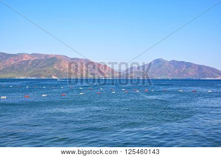 View of the Aegean Sea and the rocky mountains. Marmaris. Turkey.