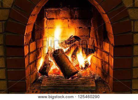 Burning Wooden Logs In Fire-box Of Fireplace