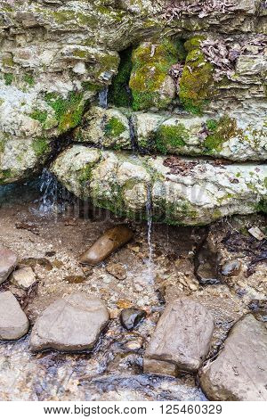 Water Spring In Caucasus Mountains