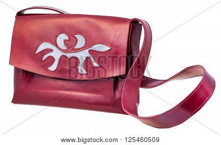 Dark Cherry Color Handbag Decorated By Applique