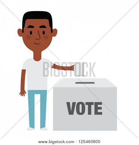 Illustration Of Male Character Putting Vote In Ballot Box