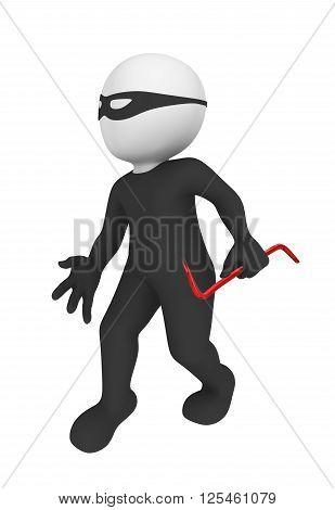 3d criminal with red crowbar. 3d illustration.