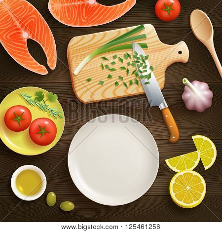 Cooking fish dish flat lay photo composition with chopped young onion on cutting board dark background vector illustration