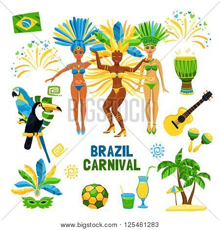 Set of decorative colored icons with different symbols of brazil carnival nature and people  vector illustration