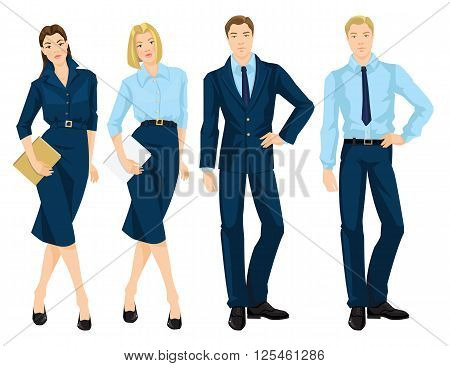 Vector illustration of business people isolated on white. Young woman in blue dress holding document in her hand. Business man in formal blue suit. Blonde girl in formal blue blouse and skirt