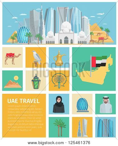 United arab emirates decorative icons set with traditional clothes and travel symbols of country isolated vector illustration